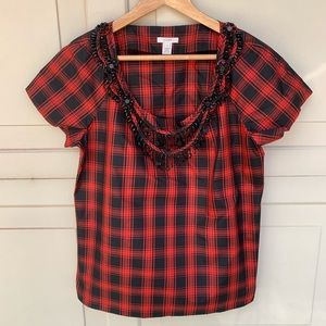Jcrew Eliza tee necklace blouse 100% silk size 8
